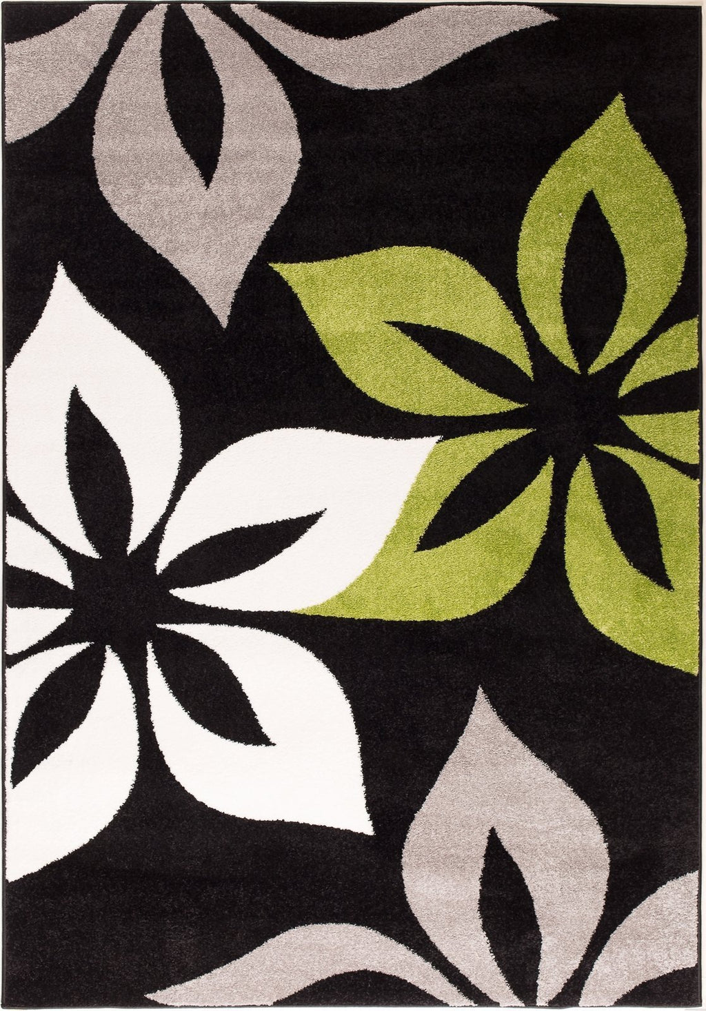 Green Flower Area Rug Modern Contemporary Living Dining Area Rug (4 x 6)
