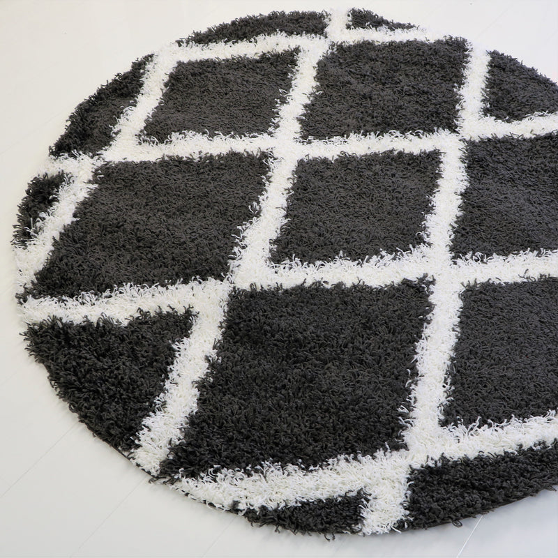 5 Feet Diameter Round Shaggy Modern Area Rug Carpet in Dark Grey-White 3