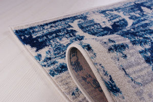 Kahina Traditional Botanical Style Sustainable Innovative Mat Carpet in Blue