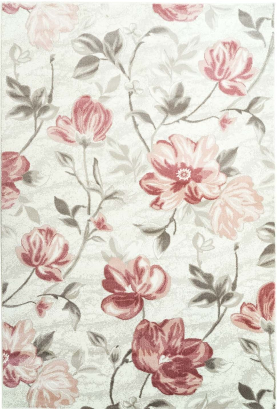 Area Rug Begonia Floral Modern Contemporary Synthetic Living Room Rug, Dining Area Rug (Pink, 4 x 6 (120cm x 170cm))