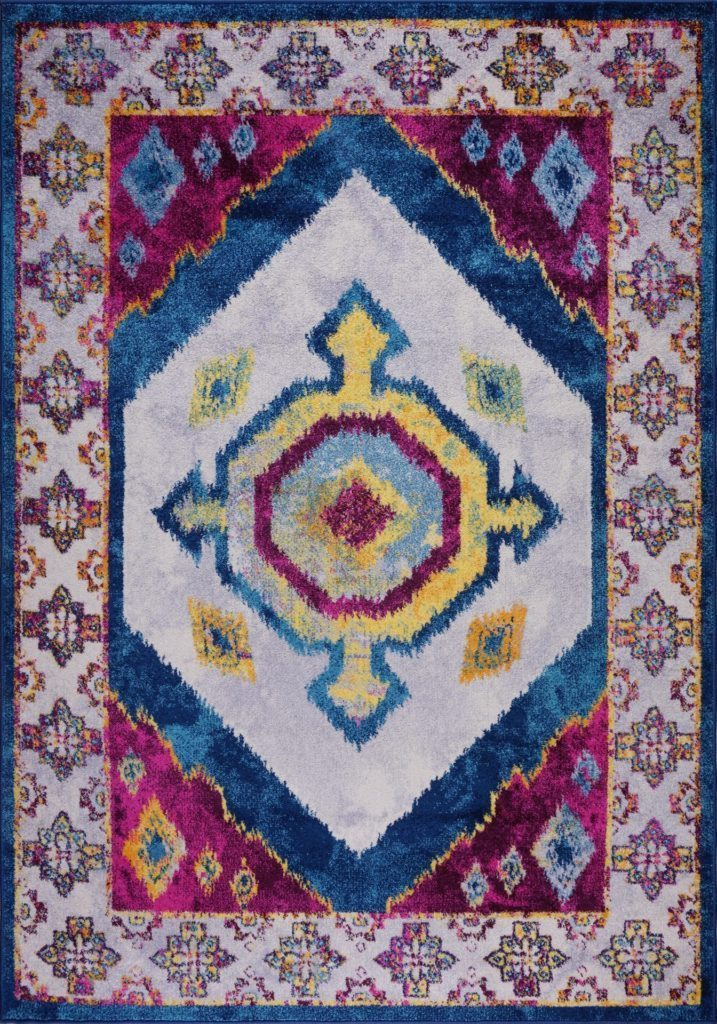 Huma Ikat Traditional Style Polypropylene Machine Made European Mat Carpet in Purple Blue