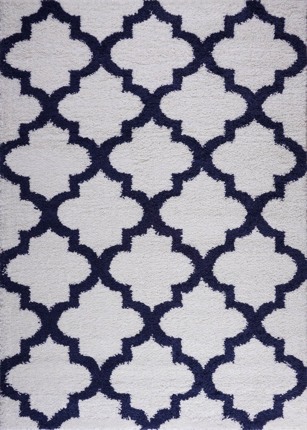 Grant Shaggy Abstract Polypropylene Small Mat Doormat Rug in Dark Blue White