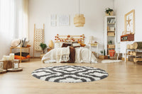 Stylish Shaggy Comfortable Elegant Carpet Area Rug in Dark Grey-White, 5x8