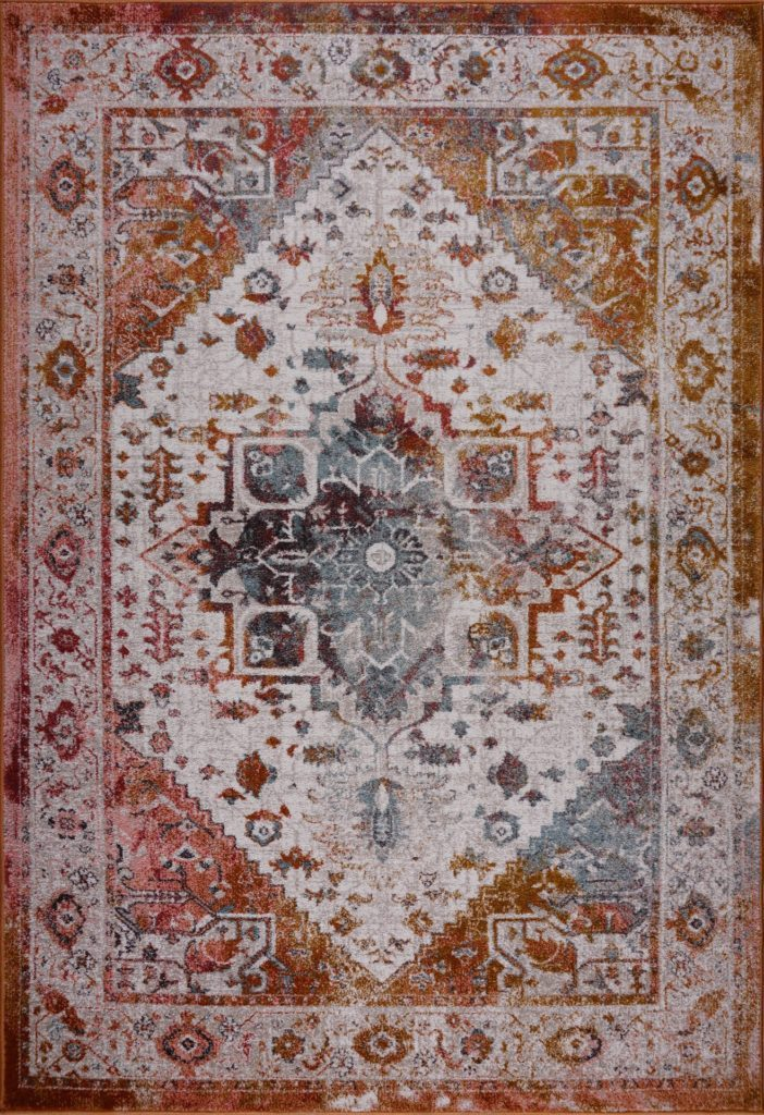 Modena Traditional Design Turkish Machine Made Beautiful Indoor Mat Carpet in Brown Cream