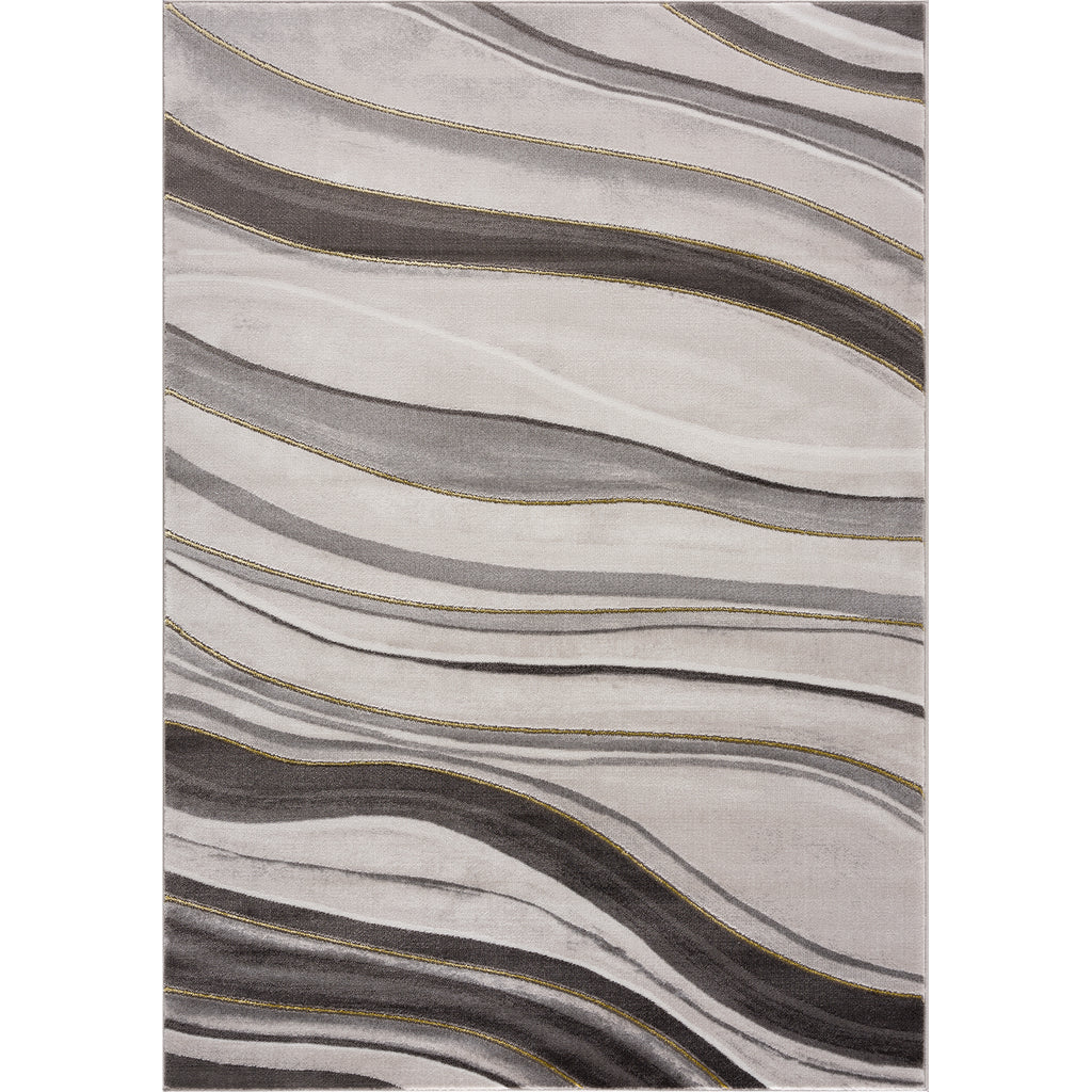 Light Dark Grey Beige Gold Spirals Waves Striped Pattern Abstract Modern Area Rug