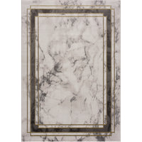 Light Dark Grey Beige Modern Abstract Striped Bordered Marble Pattern Area Rug