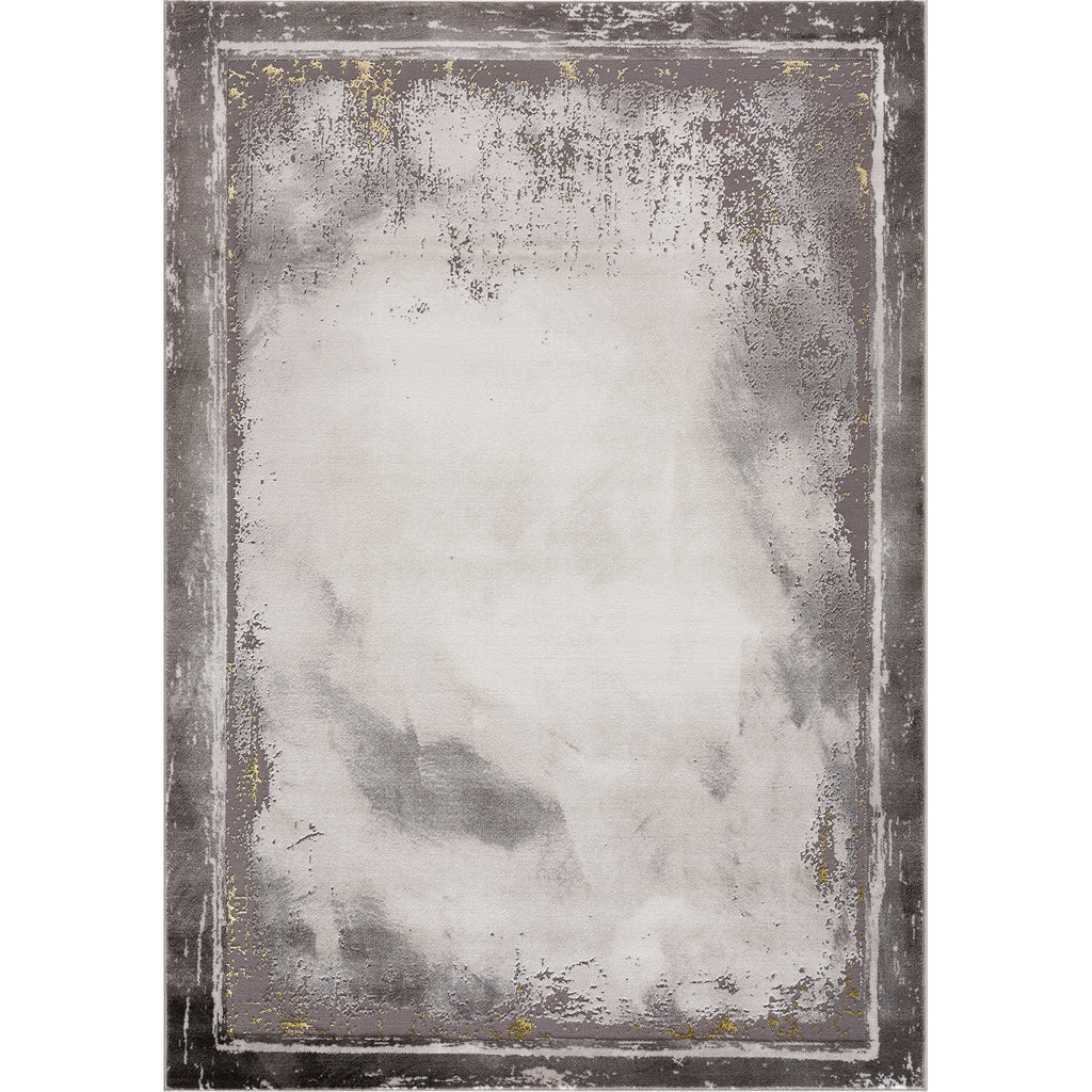 Light Dark Grey Beige Modern Abstract Bordered Rustic Marble Pattern Area Rug