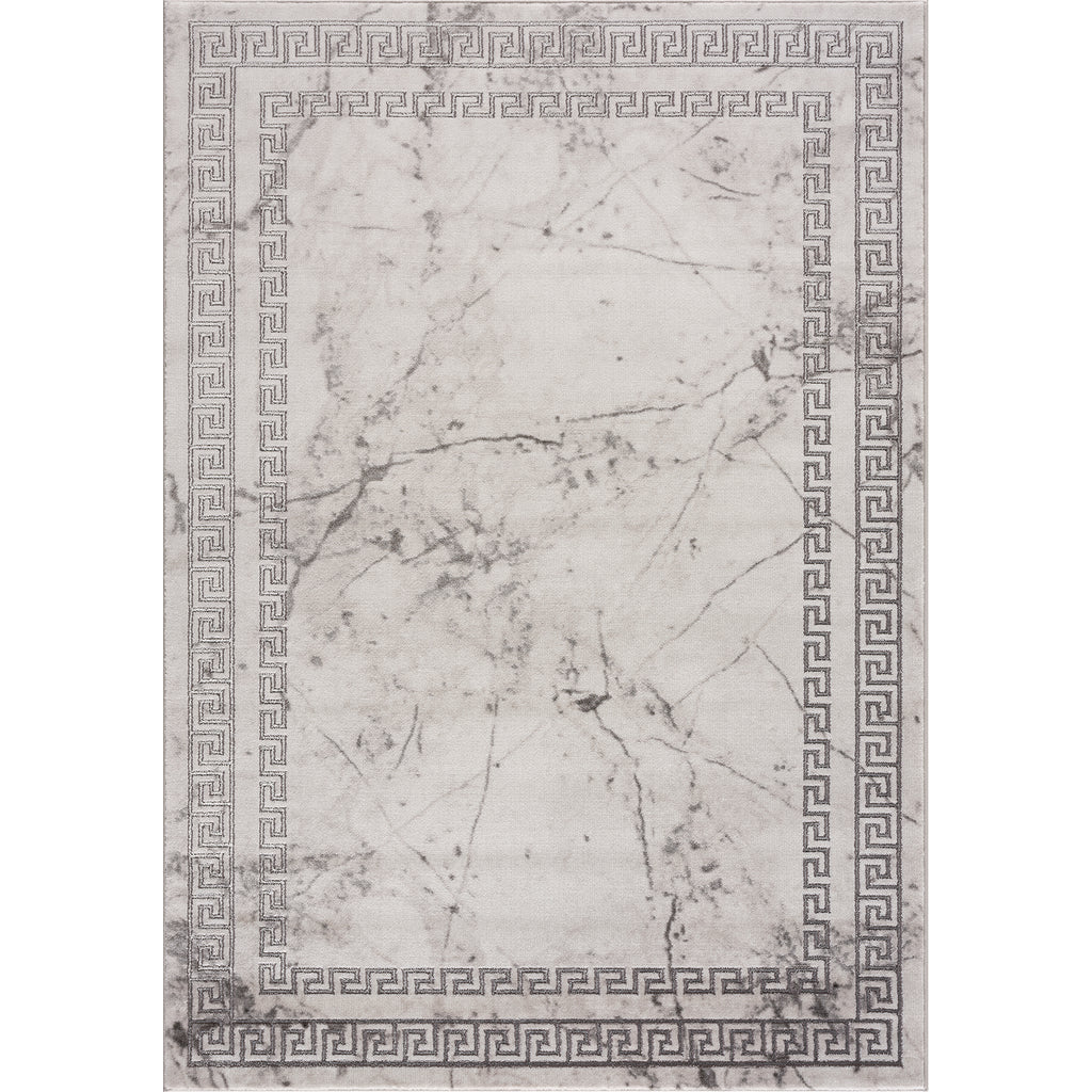 Light Dark Grey Beige Modern Meander Greek Pattern Bordered Area Rug