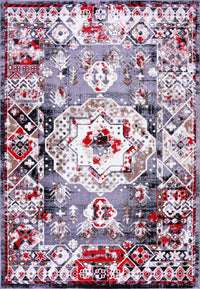 Athens Red Gray Geometric Traditional Area Rug