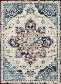 Victoria Traditional Distressed Style Blue Red Area Rug