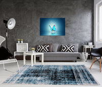Verona Turquoise Black Diamond Pattern Area Rug