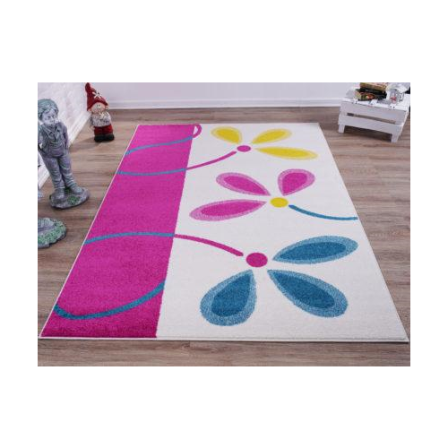 Cream Pink Flowers Area Rug with Size (3'11