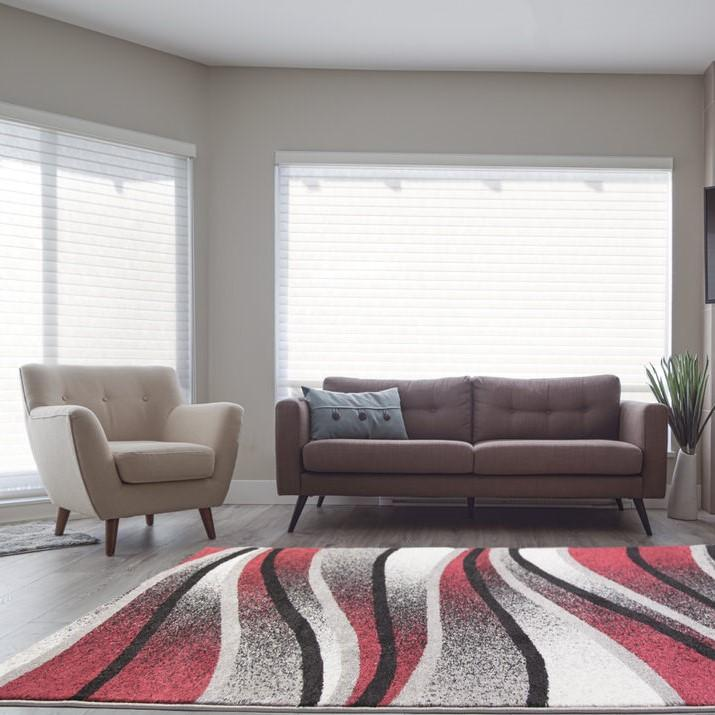 "Durable Boston Collection Waves Pattern Abstract Mat Carpet in Ivory Red Grey, 2' x 3'3""(60cm x 100cm)"