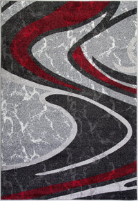 "Innovative Boston Collection Spirals Abstract Pattern Mat in Red Grey Black, (2' x 3'3"", 60cm x 100cm)"