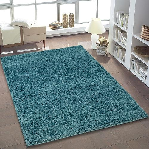 Shaggy Teal Area Rug