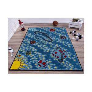 Universe Theme Innovative Indoor Kids Area Rug Carpet in Blue and Yellow
