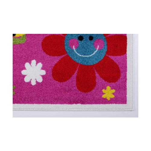 Cute Bees and Flowers Smiley Faces Kids Area Rug Carpet, Pink