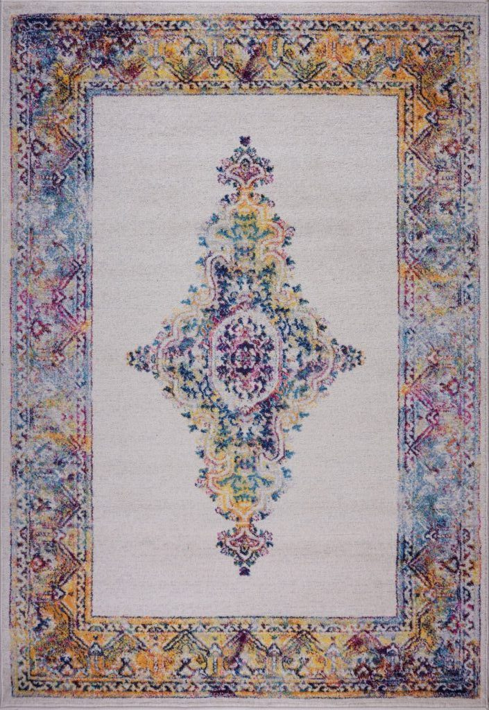 Saba Traditional Border Style Machine Made European Indoor Mat Carpet in Cream Multicolor
