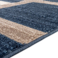 Frieda Navy Blue Beige Modern Area Rug