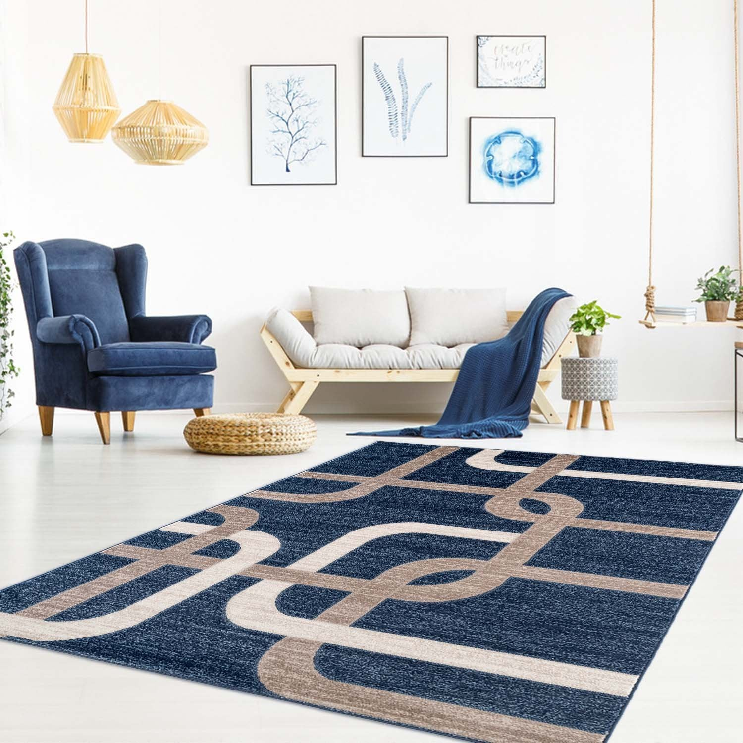 White Blue Traditional Area Rug Oriental Area Rug Rugs Store