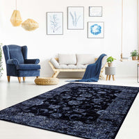 Samira Navy Blue Traditional Area Rug