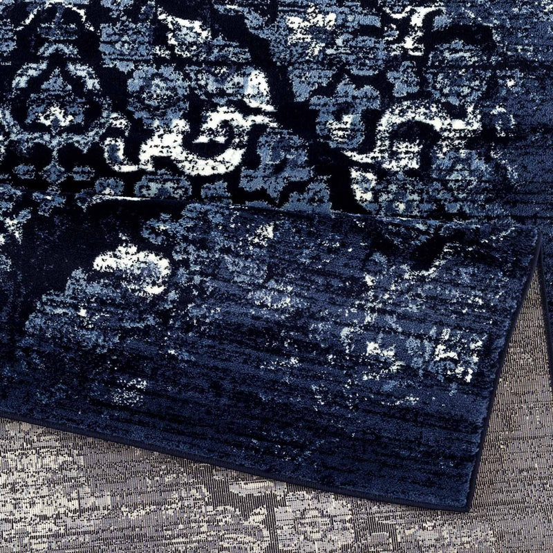 Kentucky Navy Blue Traditional Area Rug