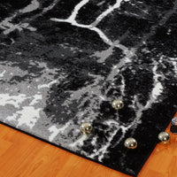 Anise Black White Abstract Area Rug -