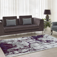 Anise Violet Cream Abstract Area Rug -