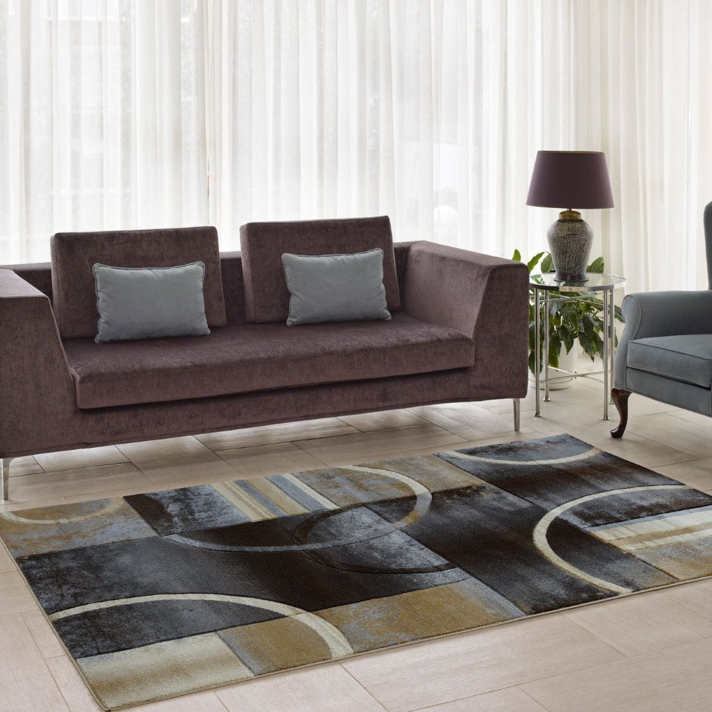 Adonis Black Grey Geometric Area Rug -