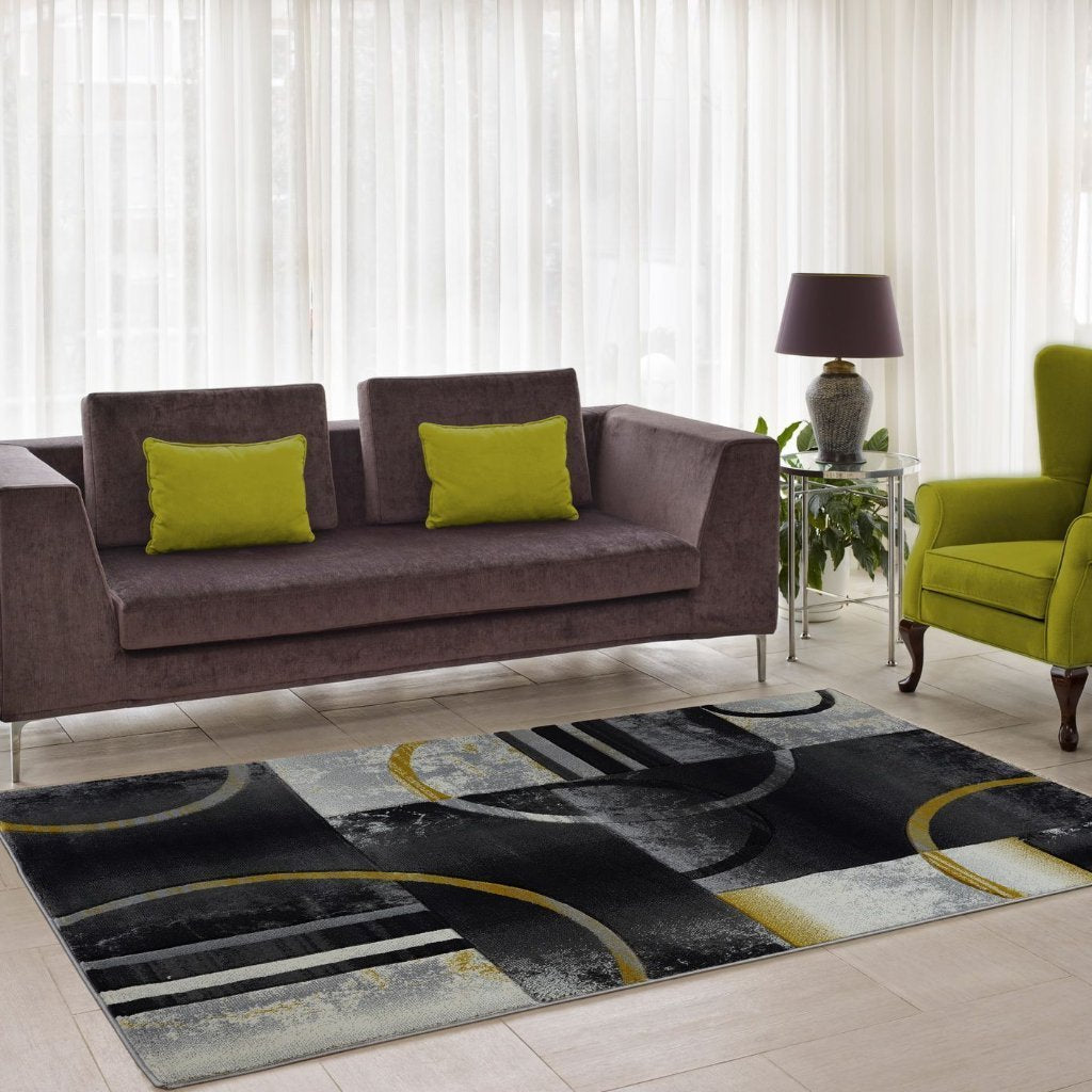 Adonis Grey Gold Geometric  Area Rug -