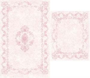 Pink Border Design Bath Mat Set