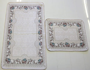 Cream Floral Bath Mat Set
