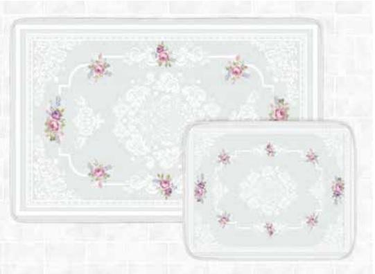 Blue Rose Bath Mat Set