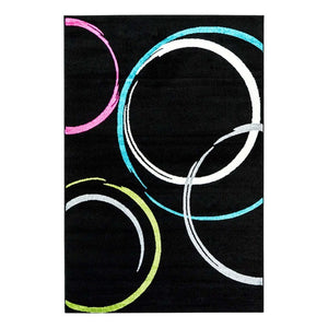 Bravo Black Neon Abstract Area Rug