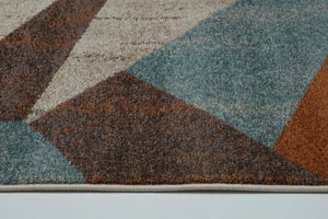 East York Beige Brown Teal Area Rug -