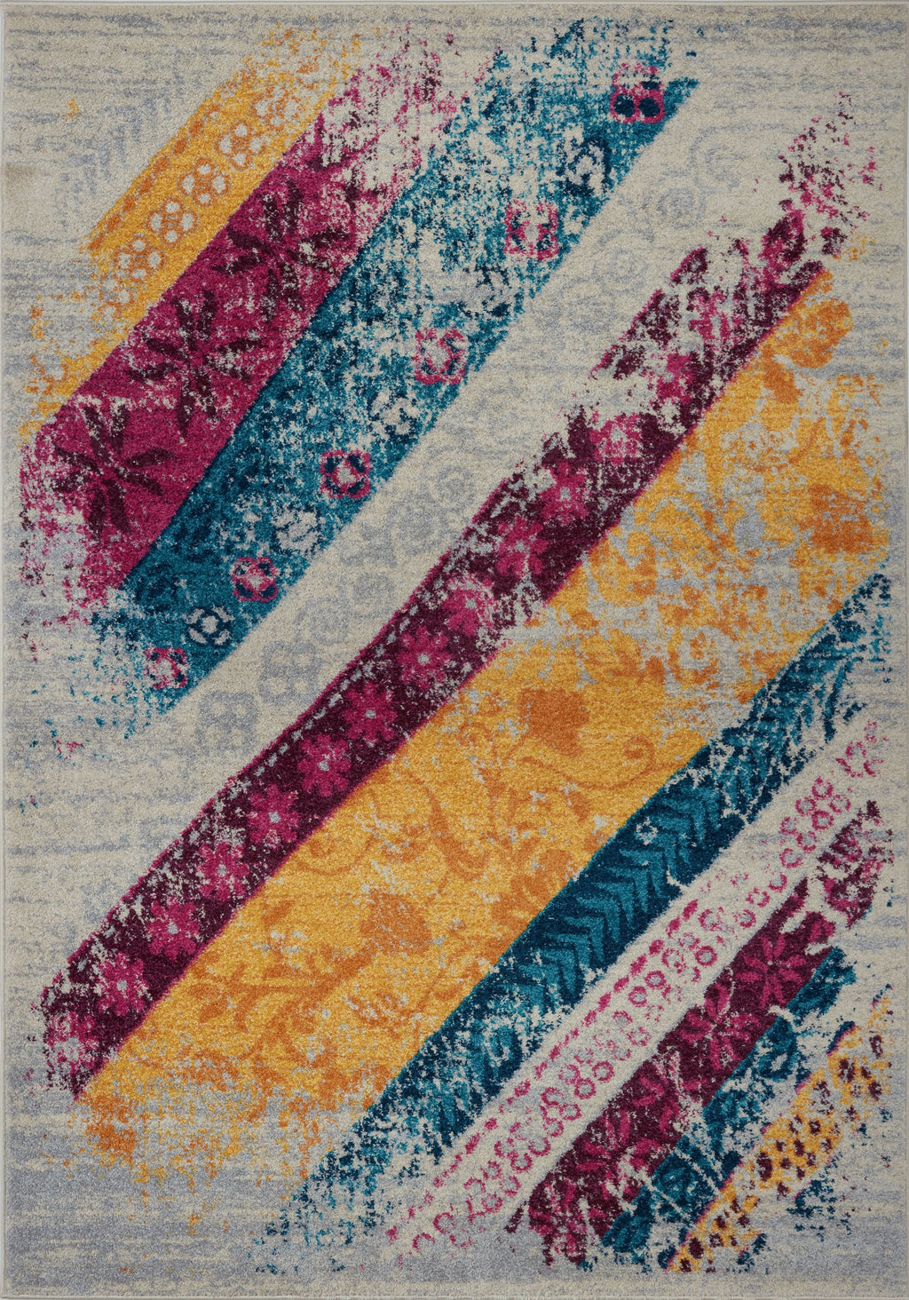 Centre Point Cream Multicolor Area Rug -