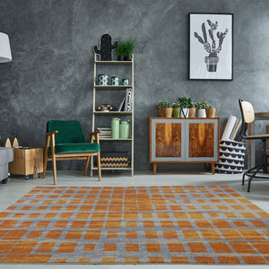 Grand Square Yellow Grey Contemporary Area Rug -