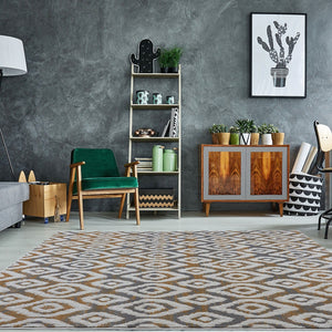 Vega Cream Gray Contemporary Area Rug -