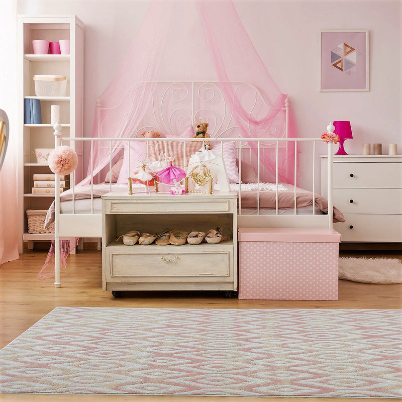 Mercury Cream Baby Pink Area Rug -