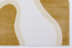 Peach White Abstract Pastel Area Rug