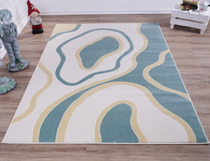 Cream Blue Abstract Area Rug