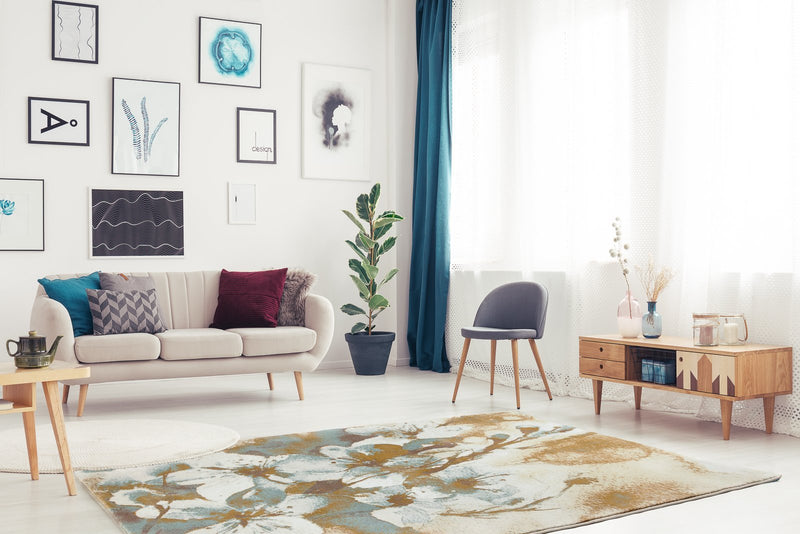 Sky Blue Gray Floral Area Rug