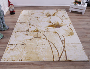Beige Cream Tulip Area Rug