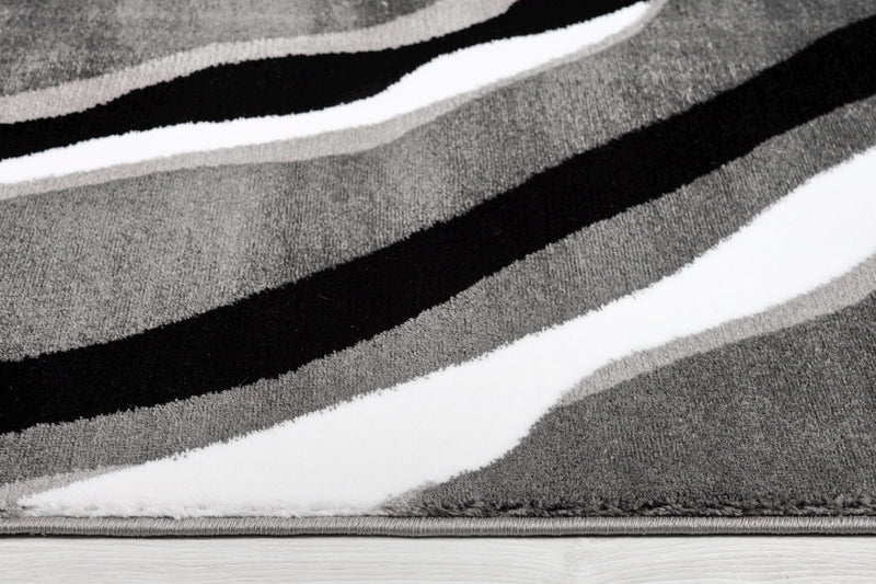 Calvin Grey Black Abstract Area Rug