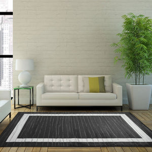 Cambridge Border Gray White Area Rug -