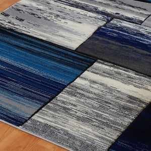 Copper Blue Grey Area Rug -