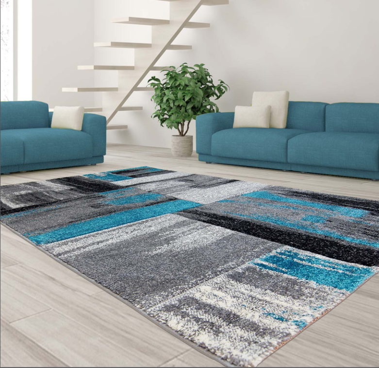 Copper Abstract Area Rug Blue -