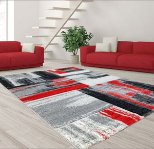 Copper Abstract Area Rug Grey Red -
