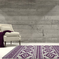 Damask Trellis Ivory Berry Purple Shaggy Area Rug -