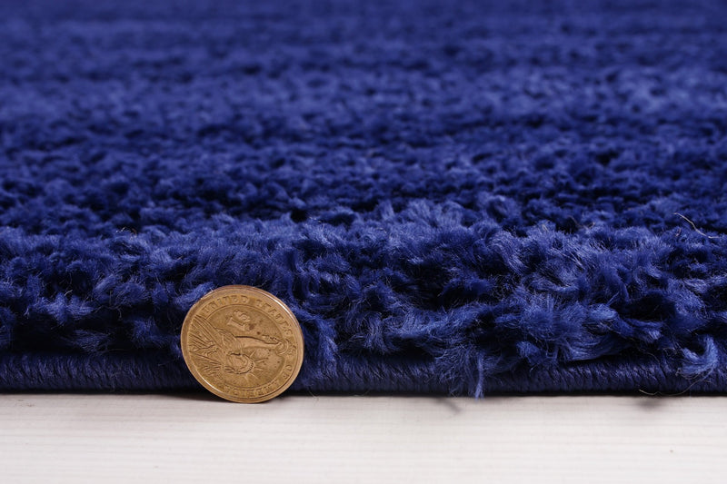Solid Color Shaggy Meknes Durable Beautiful Turkish Rug in Navy Blue